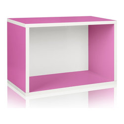 Way Basics - Way Basics Eco Stackable Rectangle Shelf, Pink - Made from the same sturdy zBoard, the Rectangle will make your life easier as you organize your garage, closet or kid's playroom! Mix and match to create your own bookshelf from a combination of Storage Cubes and Rectangles. Make storage personal again with this latest edition to the collection.