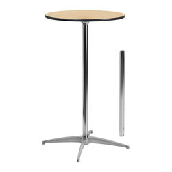 "Flash Furniture - 24"" Round Wood Cocktail Table with 30"" and 42"" Columns - This versatile commercial grade Cocktail Table features a standard table height column and bar height column. The two column options allow you to optimize your resources when setting up different events. Enhance the look of the bar table configuration by adding a table cover and a loosely tied coordinating material. Table breaks down for easy transporting and organized storing. Cocktail tables can be used in banquet halls, conference centers, hotels, bars, clubs, training rooms, break rooms or any other social event."