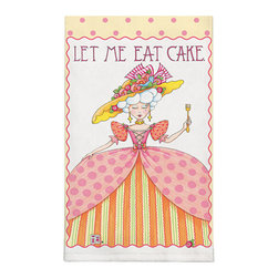 370-Let Me Eat Cake By Mary Engelbreit Dish Towel - Brighten up any kitchen with Mary Engelbreit's Collection.  Silkscreened on 100% cotton, lint free and wate absorbent.