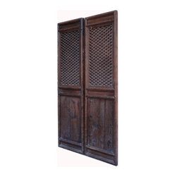 Golden Lotus - Pair Tall Chinese Antique Geometry Pattern Hand Carving Screen Wall Panel - This is a pair of Chinese antique door panels which is made of solid elm wood.  It was used as door long time ago in China, right now, people use it for wall screen deco.