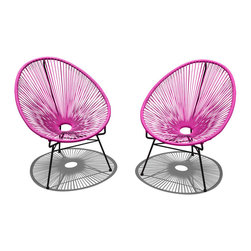 Harmonia Living - Acapulco 2-Piece Lounge Chair Set, Hot Pink - The Acapulco 2 Piece Lounge Chair Set in Hot Pink (SKU HL-ACA-2LC-HP-BL) blends mid-century design with modern funk to create a new standard of comfort and style for your patio. The collection is inspired by woven furniture that was incredibly popular in Central America in the 1950s and '60s, creating seating that is supportive and breathable. This makes the Acapulco Lounge Chair ideal for unwinding even in the warmest climates. The chair is designed to center your weight between its triangular legs, providing a stable and comfortable resting position that seems to defy the outrageous geometry of the collection. Beyond its comfortable design, the lounge chair is constructed with a powder-coated steel frame, making it incredibly durable and weather-resistant. The frame is wrapped in a supportive Polyethylene cord, giving the collection its distinctive look. The chair is available in funky colors that are sure to brighten up your patio, including Lime Green, Hot Pink, Candy Apple Red, Glacier Blue, White Lighting, Atomic Tangerine and Jet Black.