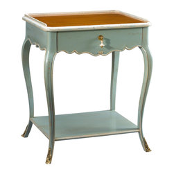 Kathy Kuo Home - Sade French Country Cherry Wood Light Blue Nightstand - This petite, French Country piece makes a grand, stylish statement in a small amount of space. With one dainty drawer and a small storage shelf, it's an artistic accent next to a favorite reading chair, a nightstand in the bedroom or a display table beside the sofa. Light blue cabriole legs are delicately detailed with grey trim, rising to the cherry- finished tabletop.
