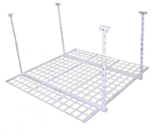 """HyLoft - HyLoft 45"""" x 45"""" Ceiling Storage Rack - The HyLoft 45 by 45-inch unit is made of strong, durable steel with a scratch resistant finish, and each unit holds up to 250 pounds. The height is adjustable from 16 to 28 inches so you can custom fit it to a variety of spaces, and multiple units can be connected to create a contiguous storage area. The open grate design allows you to see what's stored above. Installation is simple-you can do it by yourself in about 15 minutes."""