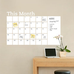 Simple Shapes - Dry-Erase Calendar With Memo Wall Decal - Stay organized with the help of this fun dry erase wall calendar. This calendar wall decal incorporates a white dry erase vinyl that you can write on and erase. It is applied directly to the wall. Use any dry erase marker.  (Dry Erase Pens/Markers not included)