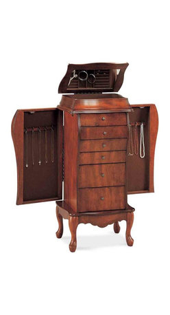 Adarn Inc - Cherry Traditional Elegant Jewelry Armoire Chest 6 Drawers Organizer - Bring bold style to your bedroom with the curvaceous bombe style top of this jewelry armoire. A carved apron, curved cabriole legs and dark antique look knobs combine for an elegant interpretation of French and traditional styles of decor. Six storage drawers, two side doors and a mirrored lid that lifts up include felt lining to protect your treasured heirlooms and more delicate items. Necklaces, chains and lockets hang untangled on the hooks provided by two side doors, and a mirrored lid opens to reveal special compartments for rings, earrings and more.