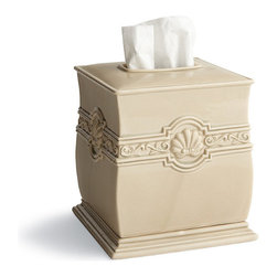 Frontgate - Bardot Tissue Cover - 100% ceramic. Handcrafted in Italy. Soap Dispenser pump available with Brass, Brushed Nickel or Chrome finish. Hand wash with a soft cloth. Part of our Mediterranean Retreat collection. Like vestiges of Italian Renaissance architecture, our Bardot Countertop Collection is adorned with shell motifs, signifying purity and rebirth. A fitting symbol for any bath, each exclusive ceramic design is handmade by Italian artisans and hand-glazed with an antiqued cream finish for rustic warmth.  .  .  .  .  .