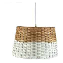 Contemporary Rattan White-Washed Wicker Pendant - A homespun wicker basket gets a new life as a pendant lamp, its white-dipped edge making it suddenly chic. Hang it in a bathroom for a rustic, farmhouse touch.