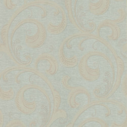 Kenneth James - Serene Scroll Wallpaper - This wallpaper features a swirling design in shimmering sea green and taupe that will make a statement in your favorite room. Pair it with your neutral furniture for an elegant look. Each wallpaper bolt is 20.5 inches wide and 33 feet long, covering about 56 square feet of your room.