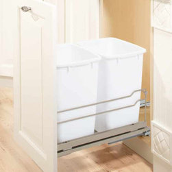 Waste Bins by Clever Storage - Our waste bins are German made.  They are very easy to install, and feature a full extension, soft close slide.  Installation requires only basic tools, and once installed the door can be adjusted for a perfect fit to your cabinet.
