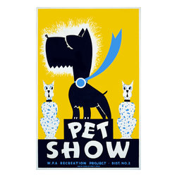 Pet Show WPA Recreation Project. IL Print - Pet show WPA recreation project, Dist. No. 2 Created by Gregg Arlington in color silkscreen in 1939 for the Federal Art Project, WPA. Poster showing a dog wearing a blue ribbon, flanked by cats.