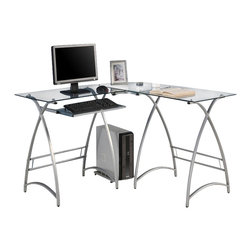 Walker Edison - Walker Edison L-Shape Glass Computer Desk in Clear and Silver - Walker Edison - Computer Desks - D51AL30 - This contemporary desk offers a sleek modern design crafted with durable steel and thick tempered safety glass. The L-shape provides a corner wedge for more space and the design creates a look that is both attractive and simple. Flexible configuration options allow you to mount the keyboard tray on either side of the desk. Also included are a universal autonomous CPU stand and a sliding keyboard tray.  This desk compliments any room and is a great addition to any home office.   Features: