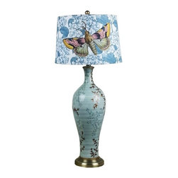 Ceramic Large Table Lamps with Butterfly Printed Lampshade - Ceramic Large Table Lamps with Butterfly Printed Lampshade