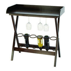 Woodland Imports - Style Wood Metal Tray Table 6 Bottle Wine Rack Kitchen Bar Decor - Contemporary style wood and metal tray table with 6 bottle capacity wine rack and glassware holder kitchen bar decor