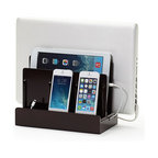 Great Useful Stuff - Cherry High Gloss Multi Charging Station - Organize that desk once and for all, and with very little effort at that! This clever organizing station allows room for all your devices and — isn't this thoughtful — even has room for all those unsightly cords so you can charge your goodies while they aren't in use! It's a must-have and a great gift for techies.