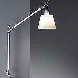 """Artemide - Artemide Tolomeo with shade wall sconce - The Tolomeo with shade wall sconce fromArtemide has been designed by Michele De Lucchi and Giancarlo Fassina. This wall mounted luminaire is great for adjustable incandescent task lighting. This wall sconce has a fully adjustable, articulated arm-body structure in extruded, brilliant, natural anodized aluminum with joints and tension control knobs in die-cast aluminum, tensions cables in stainless steel. The diffuser is equipped with an aluminum frame, available in parchment paper or in pale gray satin polycarbonate fiber blend. Diffuser remains vertical regardless of arm angle. On/Off switch on lamp holder. This fixture is also equipped with two mounting choices: TYPE J: Suitable for mounting to wall electrical junction box with direct hard wiring. TYPE S: Suitable for wall surface mounting with luminaire cord and plug connection to wall plug-in outlet. U.L listed.  Product Description:  The Tolomeo with shade wall sconce fromArtemide has been designed by Michele De Lucchi and Giancarlo Fassina. This wall mounted luminaire is great for adjustable incandescent task lighting. This wall sconce has a fully adjustable, articulated arm-body structure in extruded, brilliant, natural anodized aluminum with joints and tension control knobs in die-cast aluminum, tensions cables in stainless steel. The diffuser is equipped with an aluminum frame, available in parchment paper or in pale gray satin polycarbonate fiber blend. Diffuser remains vertical regardless of arm angle. On/Off switch on lamp holder. This fixture is also equipped with two mounting choices: TYPE J: Suitable for mounting to wall electrical junction box with direct hard wiring. TYPE S: Suitable for wall surface mounting with luminaire cord and plug connection to wall plug-in outlet. U.L listed.  Details:     Manufacturer:  Artemide   Designer:  Michele De Lucchi and Giancarlo Fassina   Made in: Italy   Dimensions:   Height: 27"""" (68 cm)Width: 26"""" (66 cm)     """