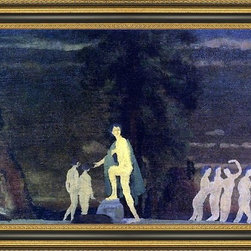 """Art MegaMart - Arthur B Davies Dancers in a Landscape - 16"""" x 24"""" Framed Premium Canvas Print - 16"""" x 24"""" Arthur B Davies Dancers in a Landscape framed premium canvas print reproduced to meet museum quality standards. Our Museum quality canvas prints are produced using high-precision print technology for a more accurate reproduction printed on high quality canvas with fade-resistant, archival inks. Our progressive business model allows us to offer works of art to you at the best wholesale pricing, significantly less than art gallery prices, affordable to all. This artwork is hand stretched onto wooden stretcher bars, then mounted into our 3 3/4"""" wide gold finish frame with black panel by one of our expert framers. Our framed canvas print comes with hardware, ready to hang on your wall.  We present a comprehensive collection of exceptional canvas art reproductions by Arthur B Davies."""