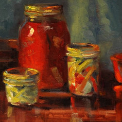 """Pickled"" Artwork - After putting up peppers and salsa, the canning jars just needed to be painted. what fun. this is an oil painting of the fruits of the canning season."