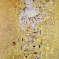 """Art Gems - Klimt Portrait of Adele: Framed Canvas Gemmed Giclée Art Prints - All of our collections are framed in gold leaf hardwood 3"""" wide frames."""