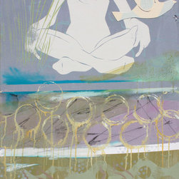 """Peace Be with You Original Painting - A levitating figure in a classic yoga pose brings you the peace you desire.  Dreamy semitransparent circles, swirls and grasses create a multilayered mixed media piece that brings a Zen quality to your living room, studio or bedroom. Part of Sheryl Daane Chesnut's """"Peace"""" series, with each unframed piece offering unique layers and textures."""