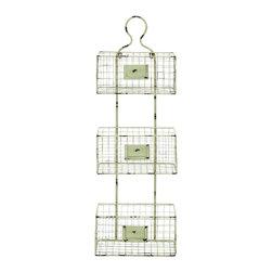 Benzara - 3 Tier Metal Wire Basket Shelf White Finish Home Storage Decor 34916 - Three tiered metal wire basket shelf with weathered white finish and placards home organization storage decor