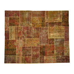 1800GetARug - Oriental Rug 100% Wool Old Afghan Patchwork Hand Knotted Rug Sh13592 - The Overdyed and Patchwork rug represents one of the hottest trends in the industry today. Each Overdyed rug is stripped of its original colors, then dyed again in vibrant hues, to create unique and one-of-a-kind pieces. The Patchwork rug is handcrafted out of salvaged, vintage carpets, with a variety of colors combining to form a wholly unique and textured design.