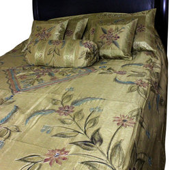 Hand Painted Floral 7-Piece Duvet Cover Set, Dark Gold, King