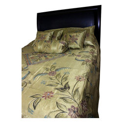 Banarsi Designs - Hand Painted Floral 7-Piece Duvet Cover Set, Dark Gold, King - Our decorative and unique 7-piece hand painted floral duvet cover set from Banarsi Designs includes: 1 duvet cover, 2 square pillow covers, 2 rectangular pillow covers, and 2 bolster pillow covers.