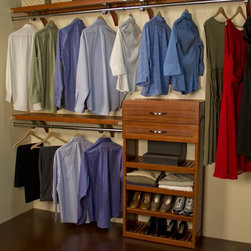 John Louis - John Louis Deep Woodcrest Carmel Finish 12-inch Closet System - This versatile closet organizer system allows you to make the most out of your storage space. This handsome organizer is easy to install and features sturdy hardwood construction with ample shelf and hanging space to provide a clutter-free closet.
