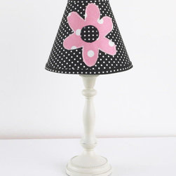 Cotton Tale Designs - Girly Standard Lamp & Shade - A quality baby bedding set is essential in making your nursery warm and inviting. All Cotton Tale patterns are made using the finest quality materials and are uniquely designed to create an elegant and sophisticated nursery. Girly standard antique lamp base and shade measures 19 inches in height. Shade in black pin dot with applique flower measures 8 x 9 x4. Shade made in the USA. Manufacturer recommends no more than a 60 watt bulb. Spot clean only. Girl lamp.