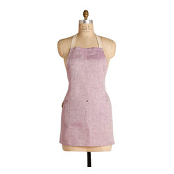Birdkage - Plum Mini Bib Apron - The lovely pale lilac color and stylish shorter length give an unexpected freshness and femininity to this simple cotton linen bib apron. Details such as blue jean rivets at the pocket corners and contrasting cream stitching lend an air of casual functionality, giving you a chic, contemporary-looking apron.