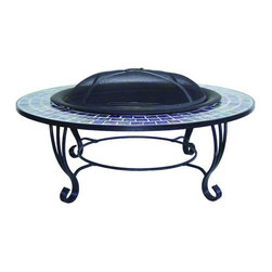 Hampton Bay - Hampton Bay Outdoor Fire Pits Denali 39 in. Round Glass Fire Pit in Blue - Shop for Outdoors at The Home Depot. This distinctive Denali Round Blue Glass Fire Pit offers a large table covered with gorgeous blue glass tiles a durable stainless steel fire bowl and an elegant stand design. Perfect for outdoor use the blue glass tiles will shimmer with or without a fire and resist water fading and scratching. Set includes spark screen screen lifting tool and storage cover. Color: Finished with blue glass mosaic table and stainless steel bowl..