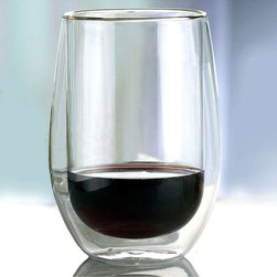 Frontgate - Set of Two Double Wall Red Glasses - Dishwasher safe. Hand-blown glass. Can also be used for hot tea or coffee. Double wall design creates the illusion of a suspended beverage. Go ahead, linger over that glass of wine &#151 with our Set of Two Double Wall Cabernet Glasses, the wine will stay chilled as long as you like. The double wall design insulates the wine, keeping it cooler. . . . .