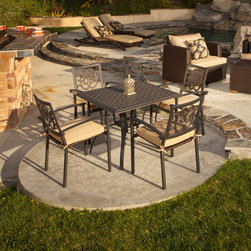 Delano™ 5pc Cast Aluminum Café Set - The Delano 5pc Café Set brings classic French provincial styling to your backyard dining area. Comfortably sit four adults on large and sturdy powder coated aluminum chairs with well-proportioned arm rests and back height. Decorative cast aluminum back detail adds styling to he chairs.