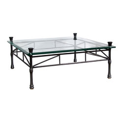 """GILANI - Amarna Coffee Table Base - Amarna Coffee Table Base. Style no: CT83901. 48""""w x 48""""d x 16""""h. Material: Metal. Finish: As specified. Top Options: Glass. Custom sizing available. Designed by Shah Gilani, ASFD."""