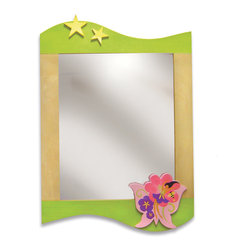 "Room Magic - Butterfly Fairy Wall Mirror - Fairies and flowers brighten this beautiful mirror, made of birch veneer finished in natural and colored stains. 24""L, 33""H"