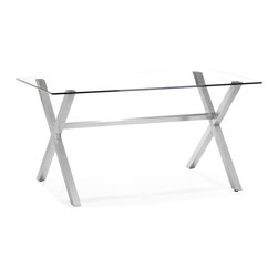 Zuo - Graphite Dining Table - X marks the spot with the Graphite Dining Table.  The stainless steel base of this modern table form the sturdy base of this dining table.  The clear tempered glass top is heavy, but keeps the room from being anything but bulky.  Add your favorite dining chair set or mix and match for a unique and versatile look.  The Graphite Dining Table will be perfect in your dining room.