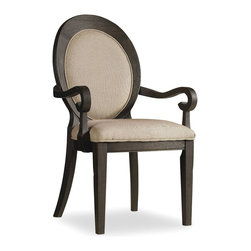 Hooker Furniture - Corsica Oval Back Chair - Set of 2 - Dark - Arm - White glove, in-home delivery included!  Like the Mediterranean island for which it is named, Corsica is a melting pot of timeless design influences with a sun washed ambience and casual attitude.  Gracefully shaped architectural forms of Italian, French and Belgian origin are accentuated by a wire brushed artisan finish with a reclaimed character.  Set of two chairs.  Fabric seat and back.
