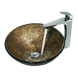 Vigo Industries - Textured Copper Vessel Sink with Round Edged Faucet - The bowl of this opulent vessel sink and faucet set from Vigo Industries is smooth on its interior surface, but its textured exterior is revealed on the inside of the bowl in an array of coppers and reds. Featuring a solid brass constructed faucet with a rounded, single lever that fits perfectly in the hand, the textured copper vessel sink and faucet set is made for durability and highly functional.
