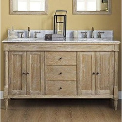 "Fairmont Designs - Fairmont Designs Rustic Chic 60"" Vanity-Double Bowl - Weathered Oak - Designed to flaunt the beauty of its wood, Rustic Chic invites you to bring a touch of texture to your bath. The earth-bound, organic look derives its appeal from clean lines and tactile Weathered Oak veneers, accented with subtle brass finished knobs. A variety of cabinet sizes and configurations allows you to customize your space...naturally. Fairmont Designs is described in two words; quality and beauty. Express your creativity with Fairmont Designs bathroom vanities and bath furniture ensembles. The distinctive families of bath furniture from Fairmont Designs come in styles for every bath. Artistry and elegance are delivered in carefully constructed products built with sustainable materials and sturdy craftsmanship. From petite corner solutions to traditional sized pieces, Fairmont Designs is your choice for exquisite and timeless beauty.Features: Materials: White Oak Veneers with White Oak Solids Hinges: Fully concealed, soft closing Doors: 4 Hardware: Brass Shelf: 2 (adjustable) Drawers: 3 Drawer Box: 1/2"" solid pine, four-sided English dovetail Glides: Soft closing Dimension: 60""W x 21-1/2""D x 34-1/2""H How to handle your counter View Spec Sheet"
