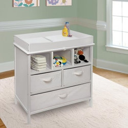 Badger Basket Estate Baby Changing Table - Who knew you could get so much functionality from a piece of furniture designed for changing diapers? The Badger Basket Estate Baby Changing Table is sturdily constructed o f wood, MDF, and laminated MDF, this changing table features a non-toxic painted finish in a choice of colors with laminated shelves and side panels. The back and side panels are solidly constructed to keep your items contained. Up top, you'll find a changing area with four sides for added safety. You can remove these safety rails later once baby has exceeded the 30 lb. weight limit so you can continue using the piece as a chest for toys or clothes. In addition to three open storage cubbies, this changing table includes 3 baskets to keep certain items hidden from view. Each canvas basket (80% polyester/20% cotton) is fully removable, foldable, and have handles on the front. The large basket has a divider panel in the center. An included changing pad is made of polyurethane foam covered with wipe-clean PEVA (non-PVC) vinyl. This product meets all current safety and testing standards.Product DimensionsChanging table: 33.75L x 19.75W x 37.375H in.As chest (changing top removed): 33.75L x 19W x 33.5H in.Weight: 52.8 lbs.Changing table weight capacity: 30 lbs.Changing area: 31.125L x 17.75W x 4H in.Height of legs: 4.25 in.Large basket: 30.5W x 17.5D x 8H in.Large cubbie: 30.75W x 18D x 8.5H in.Medium basket: 15W x 17.5D x 8H in.Medium cubbie: 15W x 18D x 8.5H in.Small cubbie: 9.75W x 18D x 8.5H in.Changing pad: 31.5L x 18.5W x .75H in.Badger Basket CompanyFor over 65 years, Badger Basket Company has been a premier manufacturer of baskets, bassinets, bassinet bedding, changing tables, doll furniture, hampers, toy boxes, and more for infants, babies, and children. Badger Basket Company creates beautiful and comfortable products that are continually updated and refreshed, bringing you exciting new styles and fashions that complement the nostalgic and traditional products in the Badger Basket line.