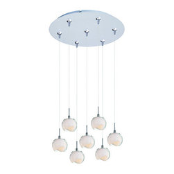 ET2 - ET2 E93706 Opal White Collection 7 Light Clear White Shade Foyer Pendant - Bulbs - ET2 E93706 Seven Light Clear White Shade Foyer Pendant from the Opal White Collection Collection - Bulbs IncludedShowcasing artistically sliced globe diffusers surrounded by clear glass domes, the Opal White Collection seven light foyer pendant casts beautiful warm lighting downwards to enhance the appeal of any room in the home.ET2 E93706 Specifications: