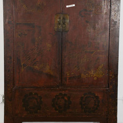 Chinese Cabinet with Dark Red Lacquer - Chinese Cabinet with Dark Red Lacquer
