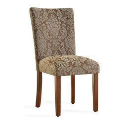 Kinfine - Elegant Blue and Brown Damask Parson Chairs (Set of 2) - These comfortable, homey chairs feature unique upholstery designs in a number of exciting colors. The seat's classic, timeless design make this chair an ideal accent for bedrooms or foyers, while retaining the ability to function as part of a complete dining ensemble.