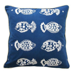 Embroidered decorative pillow - Toss this fun pillow on a chair on your screened-in porch or lanai.  Its fun seaside print will inspire summertime relaxation.