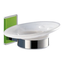 Gedy - Wall Mounted Round Frosted Glass Soap Dish With Green Mounting - Stylish wall mounted oval shaped frosted glass and brass soap holder with green thermoplastic resins mounting.