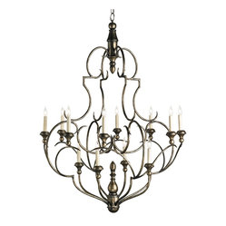 Currey and Company - Antiqued Silver Chandelier - Show off your impeccable taste with this timeless chandelier in a dirty silver finish. With a versatile old-world vibe, it'd look marvelous in your kitchen, dining room or foyer.