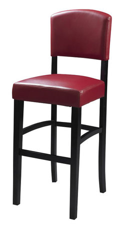 """Linon - Linon Monaco 30 Inch Dark Red Stool in Espresso - Linon - Bar Stools - 0218RED01KDU -The 30"""" Monaco Counter Stool features a rich, dark espresso finished frame. Great for homes with a modern or contemporary vibe, this stool also has a padded Ox Blood red vinyl seat and back. The legs are slightly tapered for a more elegant look, while the four foot rails provide stability and comfort. This stool is durable enough for a busy kitchen, yet elegant enough for a more formal setting."""