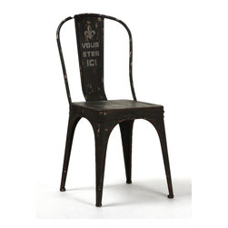 """Zentique - Christy Iron Chair - The Christy Iron Chair features a rustic black iron frame with a fleur de lis symbol and """"Vous Etes ICI"""" statement on the back."""