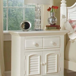 American Woodcrafters - Cottage Traditions Large Nightstand w Bun Fee - You'll enjoy oversized storage & display options anywhere with this Cottage Traditions nightstand. Its large proportions include a spacious 2 door cabinet and handy drawer for smaller items. Solid wood furniture has an eggshell white finish - versatile enough to complement any decor. Cottage Traditions Collection. 2 Doors. 1 Drawer. 1 Adjustable shelf. Solid wood hardware of knobs in matching finish. Drawers feature conventional dovetailing. Veneer drawer bottoms. Center guided, metal-on-metal, plastic-on-plastic with positive action drawer stops to prevent drawers from being accidentally pulled from cases. Drawers are 14.5 in. front-to-back for ample storage. Corner blocks and cleats are glued and screwed in place. Each case has dust-proofing bottom for clothing protection. Eggshell White with fly-specking finish. Solid Pine, Pine veneer and MDF construction. 1-Year manufacturer's warranty. 18 in. D x 31 in. W x 33.5 in. H (77.6 lbs.)