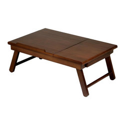 Winsome Wood - Alden Lap Bed Tray in Antique Walnut Finish - Flip top, pull out drawer. Great for working in bed or lounging in a sofa or pool. Solid wood construction. Assembly required. Overall: 22.38 in. W x 13.78 in. D x 8.95 in. H. Flip top: 13.96 in. L x 13.78 in W. Inside drawer: 6.3 in. W x 5.57 in. D x 1.10 in. H. Laptop clearance: 20.56 in. W x 6.3 in. H